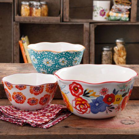 The Pioneer Woman Flea Market Wavy Nesting Bowl Set, 3-Piece - Walmart.com