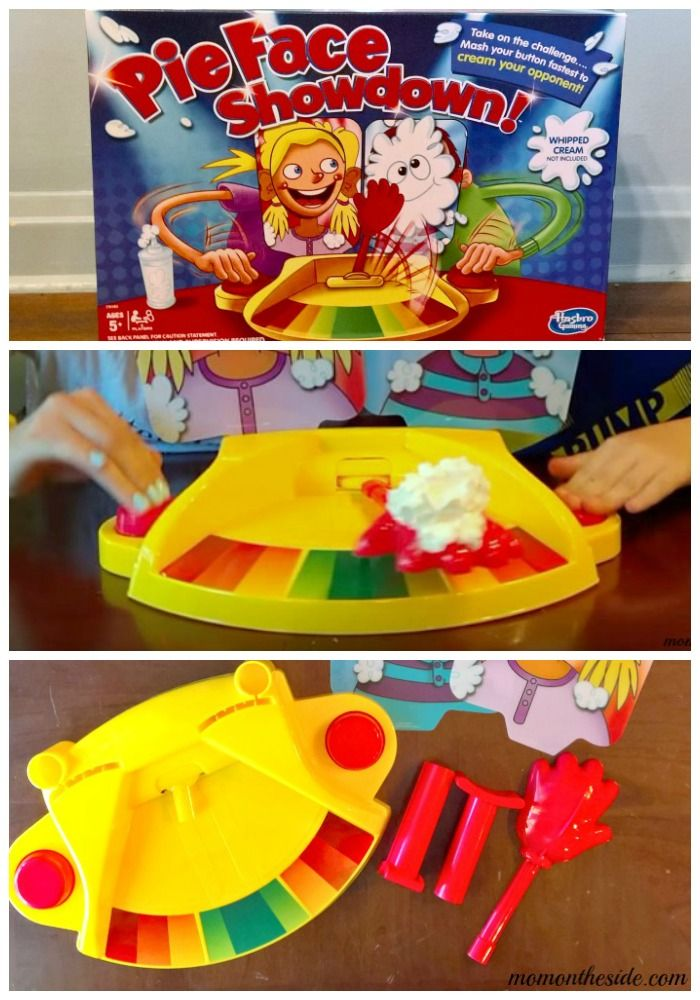 Pie Face Showdown is the ultimate game for family game night! This new version of Pie Face adds a new level of fun, with two players facing off in a button pounding tug-of-war match.