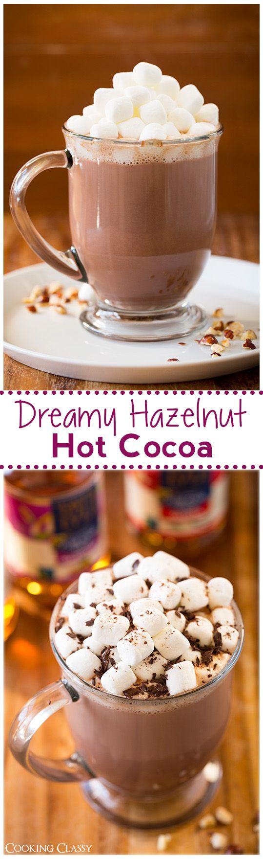 Dreamy Hazelnut Hot Cocoa recipe via @cookingclassy