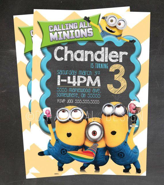 Minion Invitation Minion Birthday Invitation by DHDigitalDesign