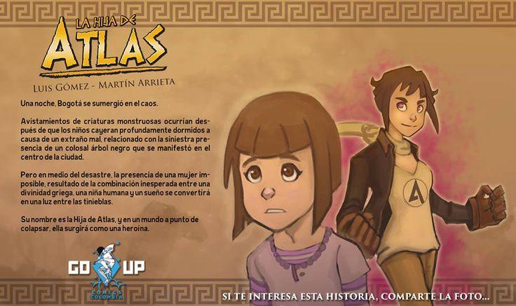 Primer promo de la Hija de Atlas. Ilustración y diagramación de Martín Arrieta. Texto de Luis Gómez.