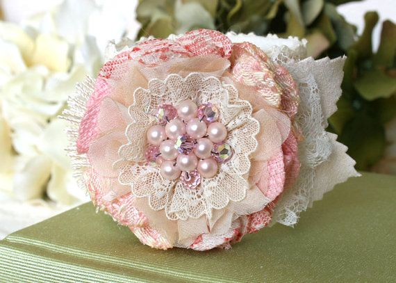 Wedding Bracelet, Pink, Bridesmaid Wrist Corsage, Fabric Flower Cuff Bracelet, Flower Girl Jewelry