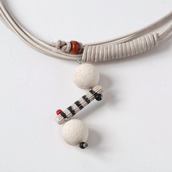 OffWhite Leather NecklaceBlack and White StripesWhite by natartg, €38.00