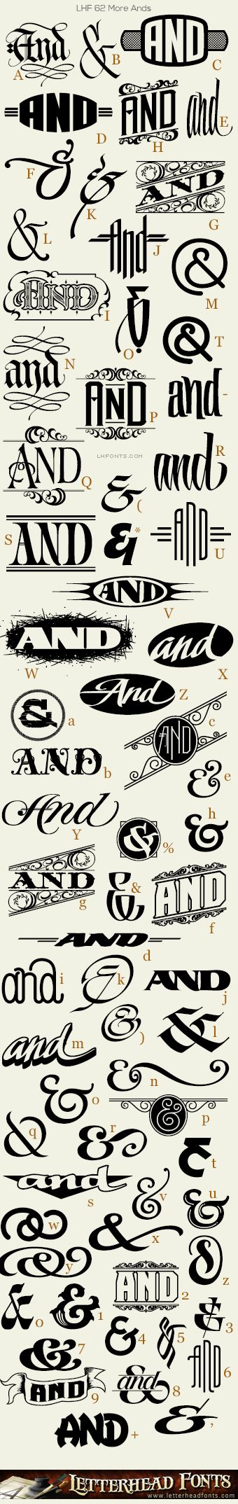 Letterhead Fonts / LHF 62 More Ands font / Decorative Ampersands