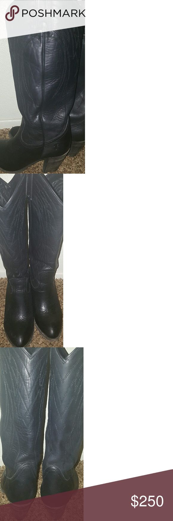 "Frye Boots SALE TODAY! Georgeous Pair of Womens Black Leather Authentic Frye Boots... Cowboy Style Llana  3"" heel.. Size 8.5 Only Worn Once.. Perfect Condition Still Look Brand New! Offer Accepted! Frye  Shoes Heeled Boots"