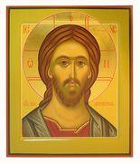Господь Вседержитель. Икона писаная (Хв) 21х25, цветной фон, золотой нимб, с ковчегом.