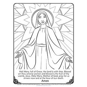 catholic kids coloring pages mary - photo#34