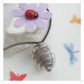 [K] AGAT NATUR - Medalion cu piatra in spirala MARE
