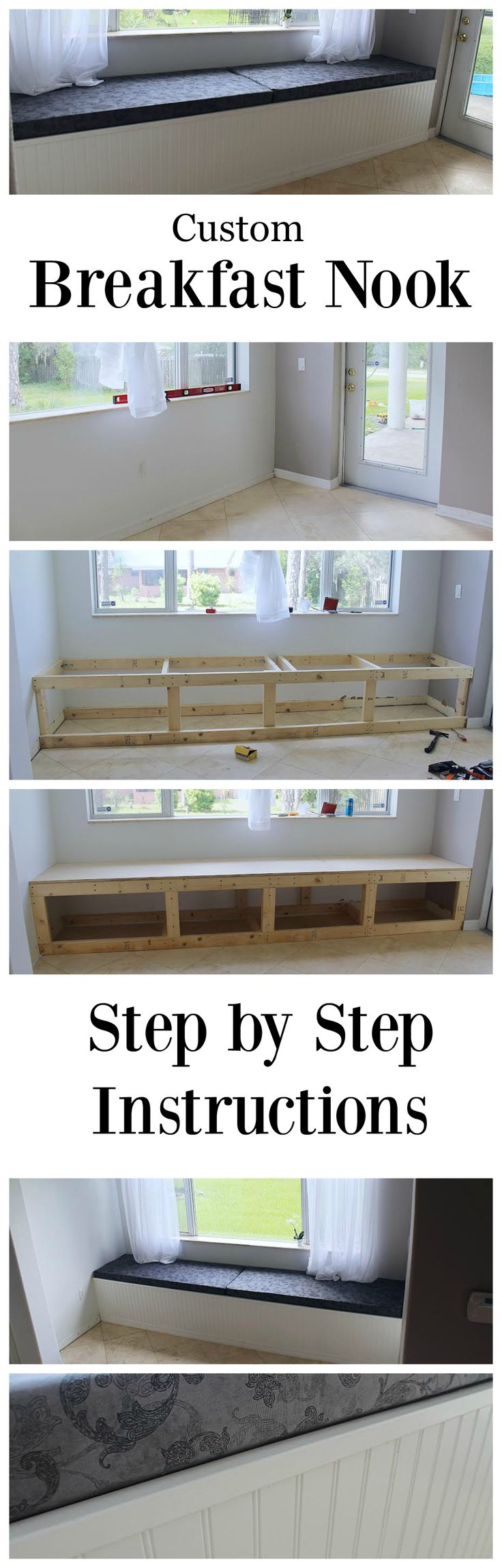 How to Build a Custom Breakfast Nook for Your Home! Step-by-Step Photos.