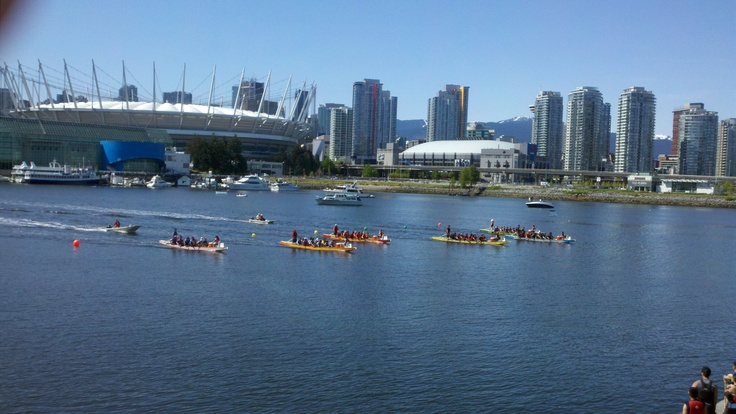 Dragon Boat races in Vancouver's False Creek - What a great city to take a bike ride!