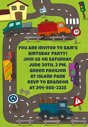 trucks theme party printable invitation customize add text and