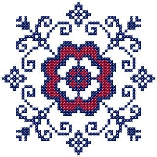 """Motif """"Filippa's kitchen"""" A. Cross stitched flower motif for your tablecloth or kitchen towels. This is the main motif of the kitchen patterns """"Filippa's kitchen""""."""