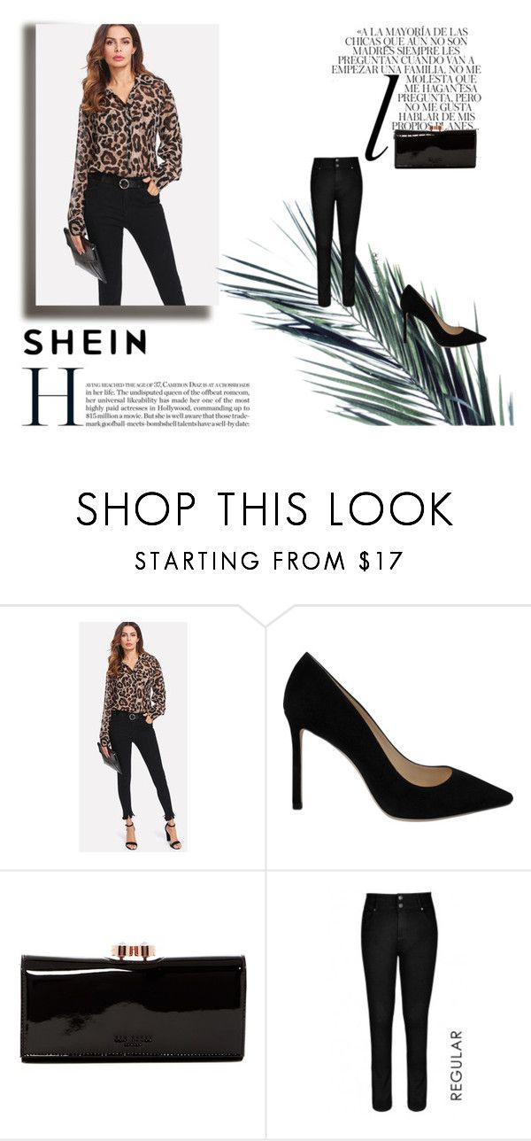 """""""Shein Leopard Top"""" by xojuliaem ❤ liked on Polyvore featuring Jimmy Choo, Ted Baker, City Chic and Whiteley"""