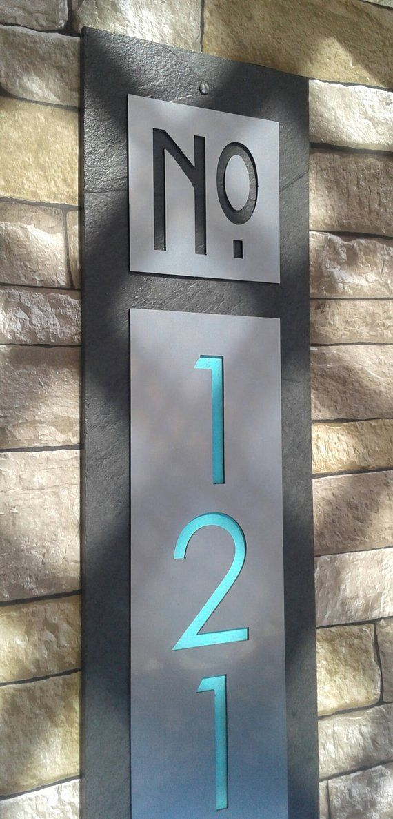 Modern House Numbers Mid Century Vertical Address Plaque House