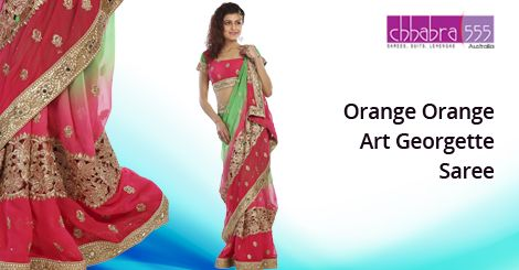 Buy Orange Orange Art ‪Georgette Saree‬ from ‪Chhabra555‬ @ $52.95 AUD in ‪Australia‬ and get free shipping for orders of $75 and more.