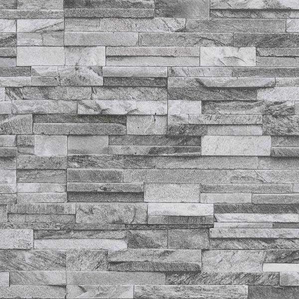 Papel pintado imitación pared de piedra gris claro PDW94210640