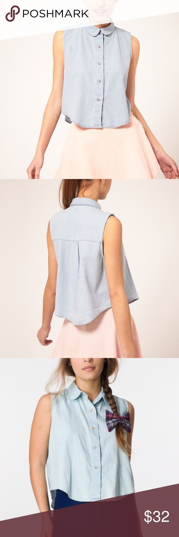 Sleeveless Denim Shirt New American Apparel Tops Button Down Shirts