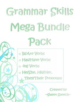 Enjoy 4 of my popular Grammar Skill products in a bundle pack.  Includes:  - Grammar Skills: Is/Are Verbs- Grammar Skills: Has/Have Verbs- Grammar Skills: -ing Verbs- Grammar Skills: Subjective & Possessive PronounsNormally $5.00 to buy individually, on sale to you for $3.25.