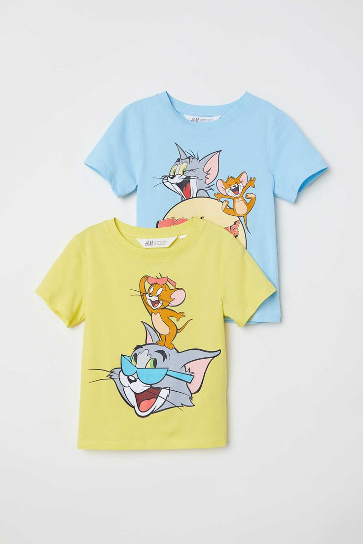 Yellow Tom And Jerry Crew Neck T Shirts In Soft Jersey With A Printed Design Kids Fashion Dress Aesthetic Shirts Stylish Hoodies [ 1104 x 736 Pixel ]