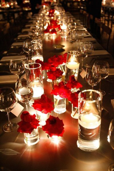 -Romantic Candlelight & Red Roses.