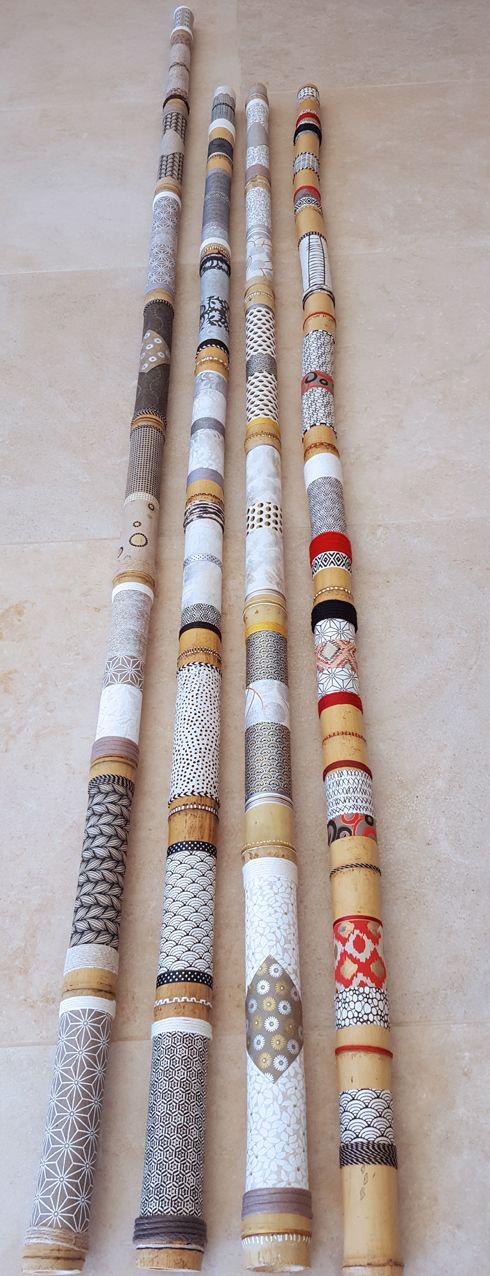 Bambous + collage papier, ruban...Créations Geneviève BOZEC