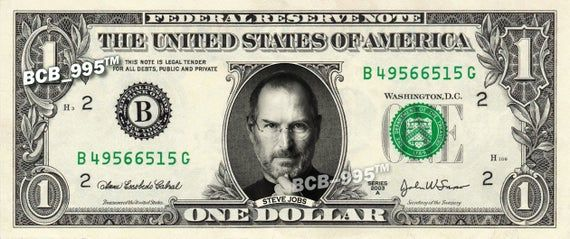 STEVE JOBS on a REAL Dollar Bill Cash Money Collectible Memorabilia Celebrity Novelty