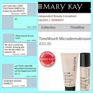 This is one of the reasons I have #MKLove: HAPPY CLIENTS! Just got this text about MK's TimeWise MicroDermabrasion Set.   What does it do?  Step 1: REFINE - Exfoliating crystals immediately energizes skin and reveals more radiant, healthy-looking skin.  Step 2: REPLENISH - Nourishes the soft, smoothed skin revealed by Step 1  Seriously, you MUST experience the beauty of Mary Kay. Call Mary Kay by Valeah 347-358-5388 to experience Mary Kay TODAY!
