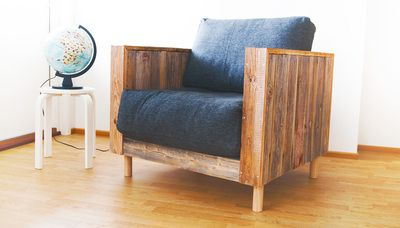 Olo armachair is made out of reclaimed wood. Design: Jaakko Mäntylä