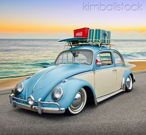 AUT 22 RK3229 01 - 1965 VW Bug Green And White 3/4 Front View On Pavement By Beach At Dusk - Kimballstock