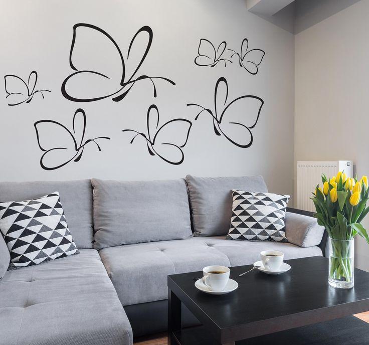 """Co na ścianę do salonu? Polecamy naklejki na ścianę lub meble! Na przykład romantyczny wzór """"Motyle"""", dostępny w różnych wersjach kolorystycznych"""