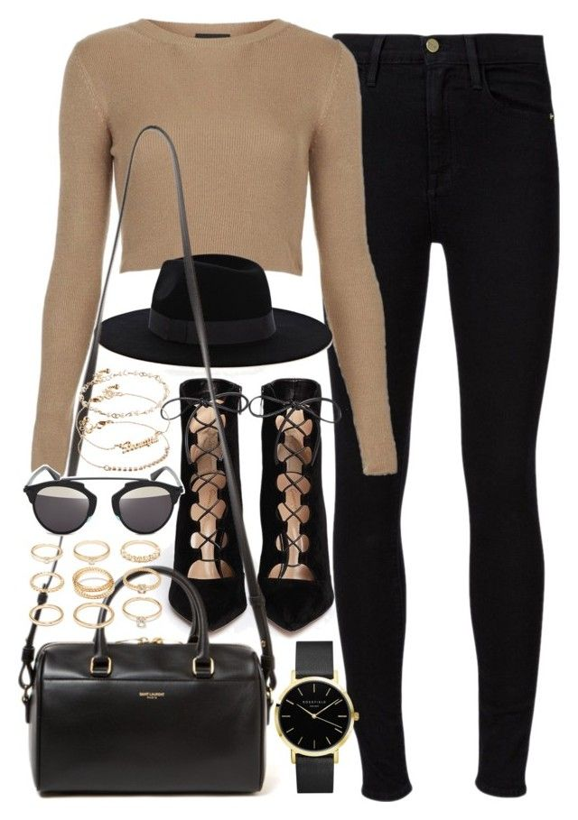 """""""Outfit for a casual night out"""" by ferned ❤ liked on Polyvore featuring Frame Denim, Topshop, Warehouse, Gianvito Rossi, Yves Saint Laurent, Forever 21, Christian Dior and ASOS"""