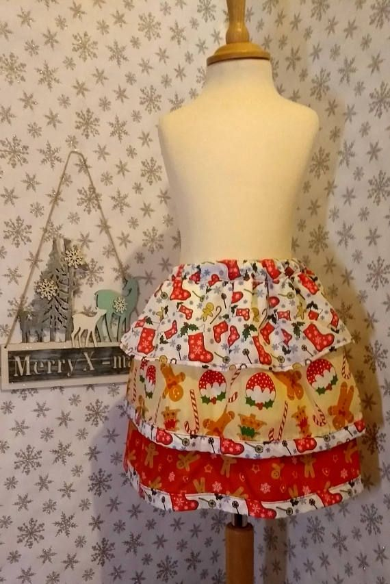 Stunning multi color Spanish girls ruffle skirt with snowflake