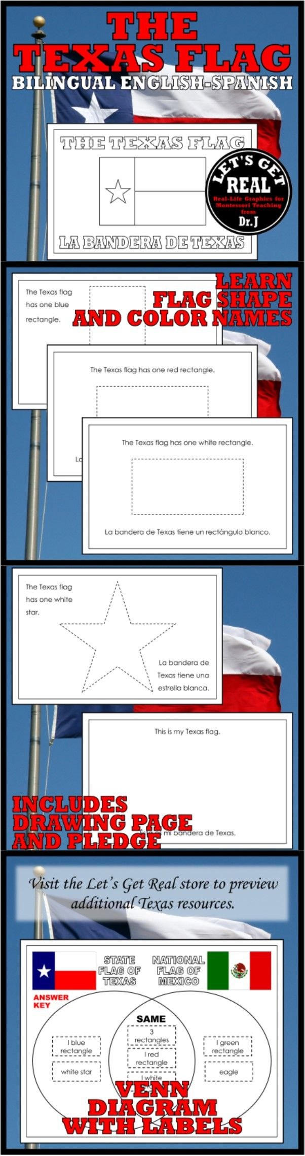 Learn color and shape names with this bilingual reader that also includes a Texas-Mexico flag Venn.
