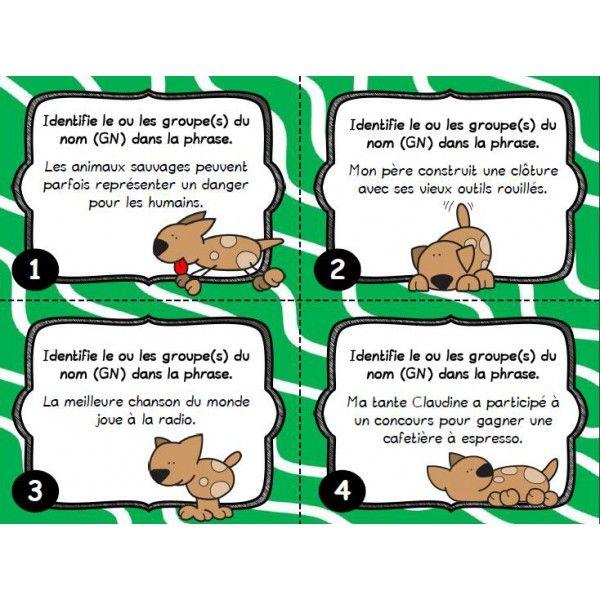 Ensemble de 30 cartes à tâches sur le groupe du nom (GN). Les élèves doivent identifier le ou les GN présents dans les phrases.