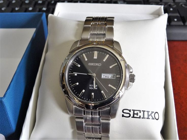 NOS Seiko Solar 100M W.R. Cal V158 Mens Watch w/ Box, Manual, & 20mm Steel Band! #Seiko #Luxury