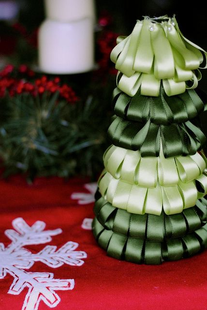 Holiday Decor: Ribbon Christmas Tree Craft Project - I would do something to finish the top.