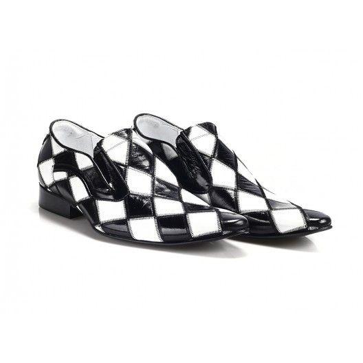 Pánske čierno biele mokasíny COMODO E SANO - fashionday.eu