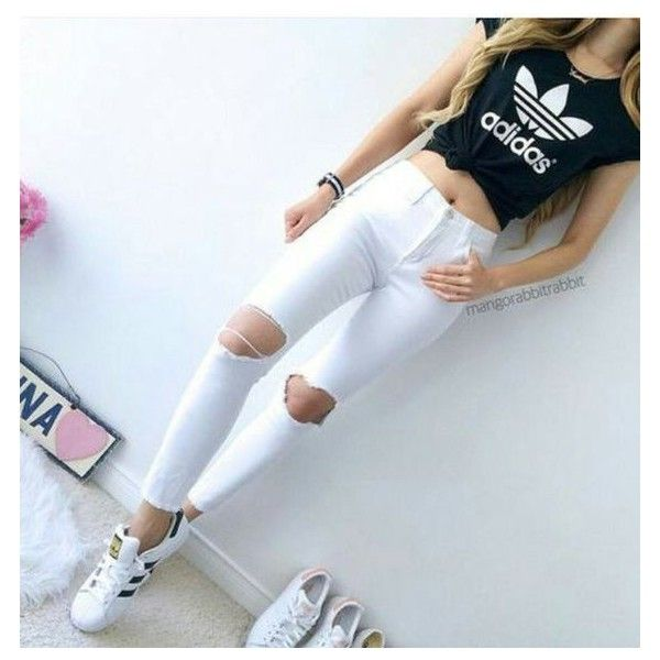 adidas, crop top, cute, jeans, outfit ❤ liked on Polyvore featuring tops, crop top, distressed top, adidas top, ripped tops and adidas
