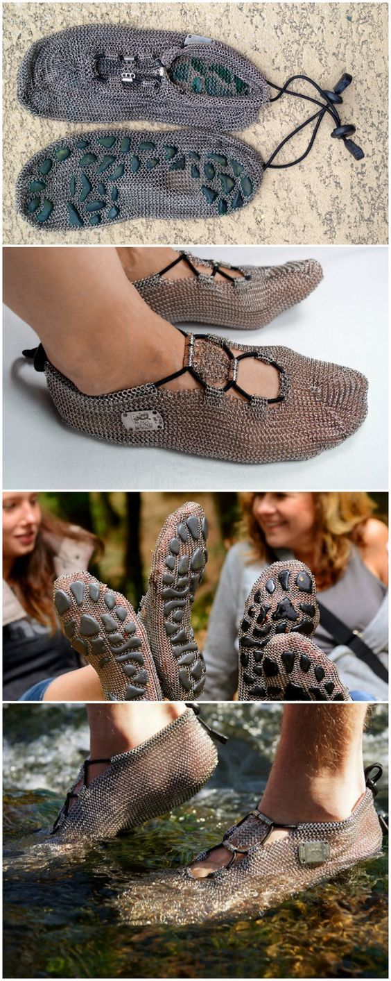 The PaleoBarefoots Outback Shoes look a lot like medieval chain-mail armor for your feet. It is made from thousands of tiny stainless steel chains linked together to form a mesh to cover your feet. They do not provide cushioning,  no protection from the cold, nor do they even keep your feet clean.