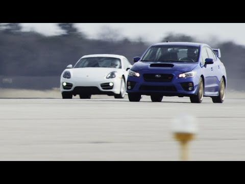 VIDEO: 2015 Subaru WRX STI vs. 2014 Porsche Cayman in a standing mile. The STi ($35k) is as fast as the Cayman ($70k) and you can put the groceries and the kids in the STi.