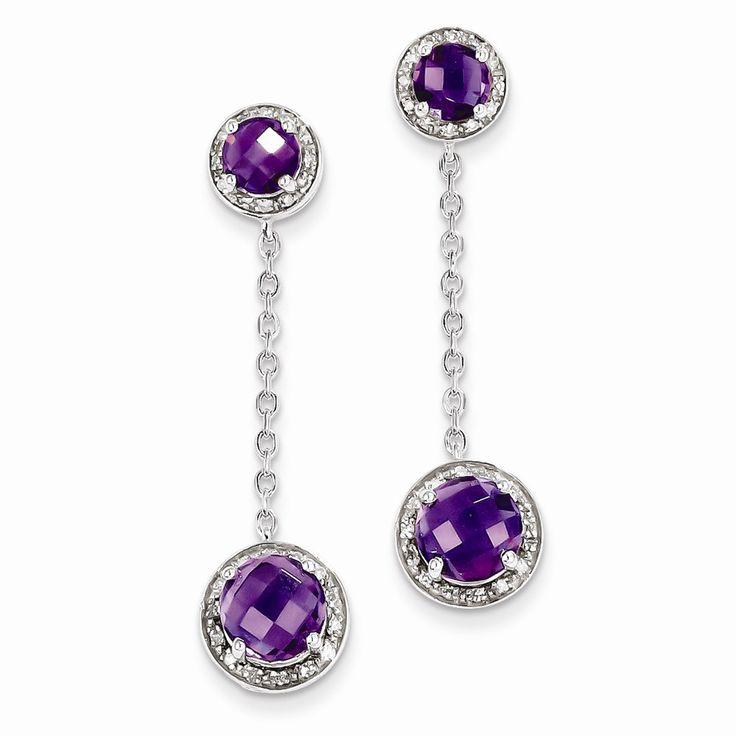 Sterling Silver Diamond & Amethyst Earring