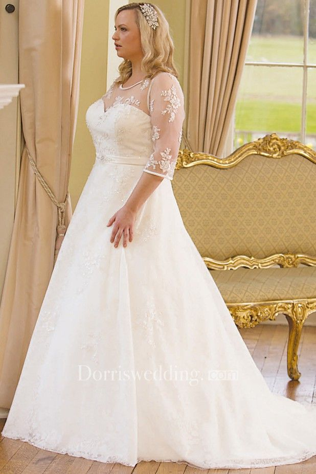 de0827ab3f7 A-Line Scoop-Neck 3-4-Sleeve Lace Plus Size Wedding Dress With Illusion