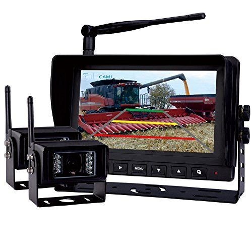 "Best price on Rear View Backup Camera System, 7"" Digital Wireless Split LCD Monitor with Two Wireless Waterproof Ir Color Cameras for Excavator, Cement Truck, Farm Tractor, Trailer, 5th Wheel, Rv Camper, Heavy Truck See details here: http://reallycarshop.com/product/rear-view-backup-camera-system-7-digital-wireless-split-lcd-monitor-with-two-wireless-waterproof-ir-color-cameras-for-excavator-cement-truck-farm-tractor-trailer-5th-wheel-rv-camper-heavy-truc/ Truly the best deal for the…"