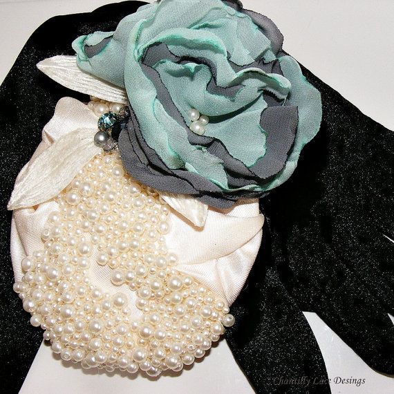 Creamy Pearl Cocktail Hat Fascinator by ChantillyLaceDesigns created in Canada
