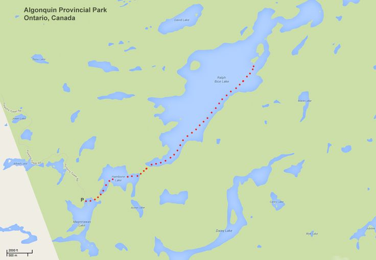 Map showing route into Ralph Bice Lake in Algonquin Provincial Park, Ontario, Canada