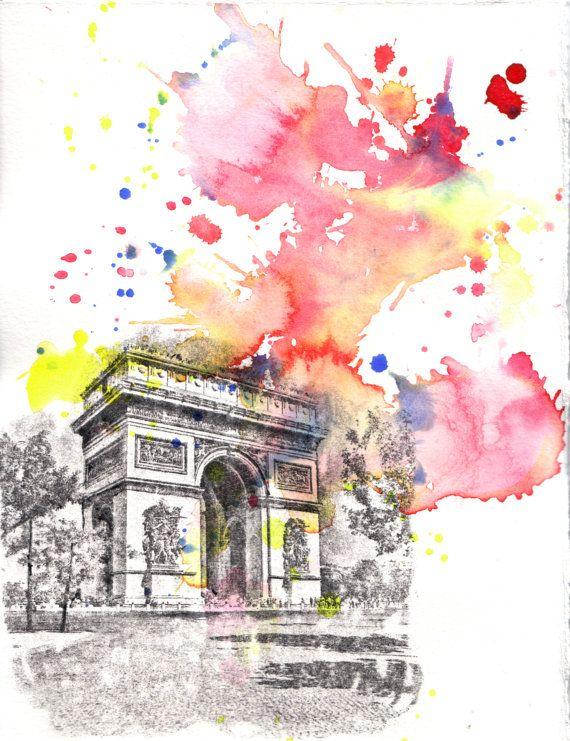 Sketch + Watercolor  Arch De Triumph Paris France Landscape - Original 8.5 X 11 in. Watercolor Painting. $50.00, via Etsy.