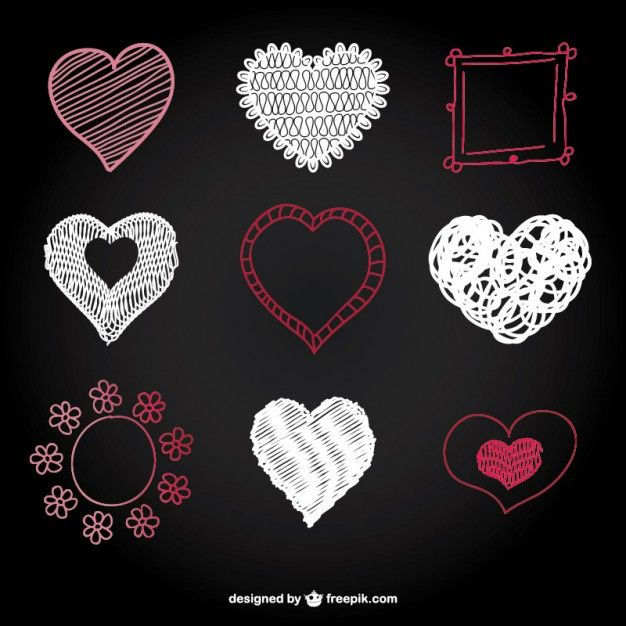 Sketched hearts and frame set Free Vector