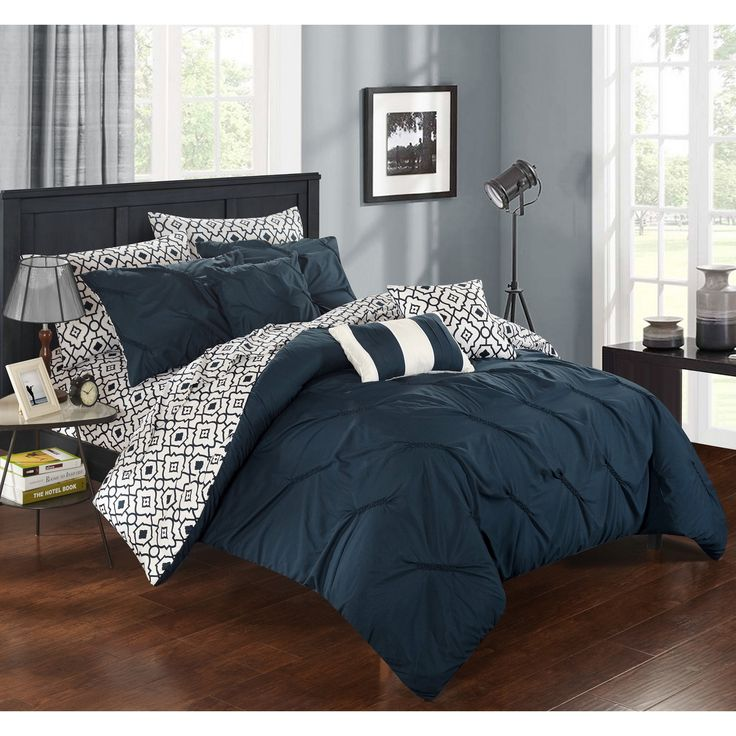 chic home 10 piece fedel pinch pleated ruffled and pleated printed reversible complete queen bed in a bag comforter set navy with sheet set