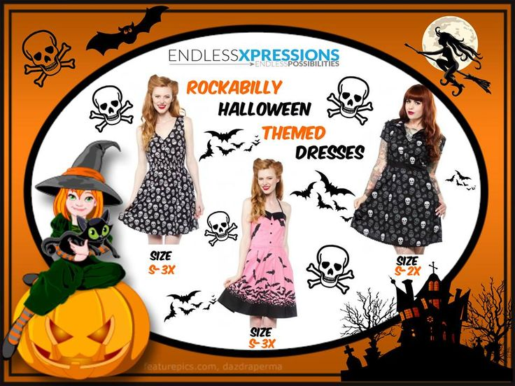 Get #Halloween Ready with #EX! Cute #Rockabilly Themed #Dresses are just Perfect.   Other Themes Available also Comes in PLUS Sizes https://www.endlessxpressions.com/rep/437-sets-and-dresses