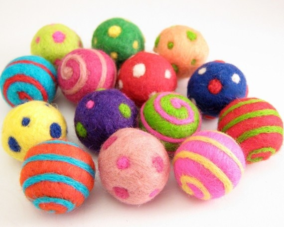 Colorful felted beads--I want to learn how to make these.